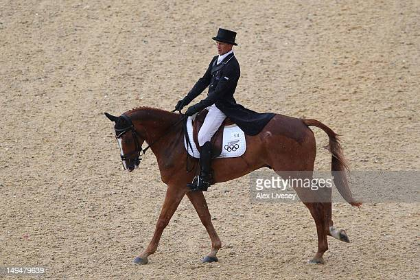 Andrew Nicholson of New Zealand riding Nereo competes in the Dressage Equestrian event on Day 2 of the London 2012 Olympic Games at Greenwich Park on...