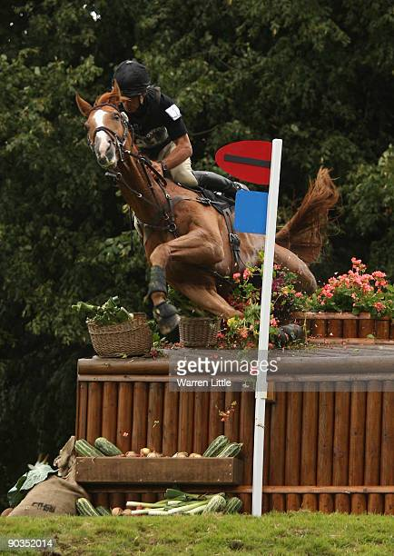Andrew Nicholson of New Zealand takes a fall ridding Noreo during the cross country event on day three of the Land Rover Burghley Horse Trials on...