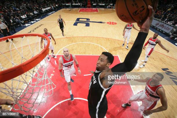 Andrew Nicholson of the Brooklyn Nets dunks against the Washington Wizards on March 24 2017 at Verizon Center in Washington DC NOTE TO USER User...