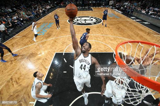 Andrew Nicholson of the Brooklyn Nets grabs the rebound against the Dallas Mavericks on March 19 2017 at Barclays Center in Brooklyn New York NOTE TO...