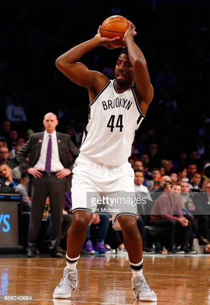 Andrew Nicholson of the Brooklyn Nets in action against the Dallas Mavericks at Barclays Center on March 19 2017 in the Brooklyn borough of New York...