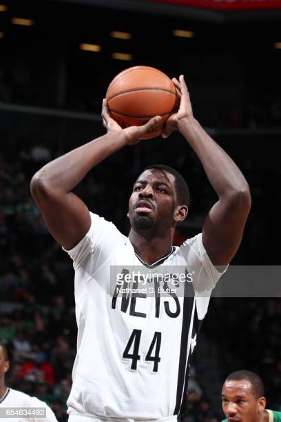 Andrew Nicholson of the Brooklyn Nets shoots a free throw during a game against the Boston Celtics on March 17 2017 at Barclays Center in Brooklyn...