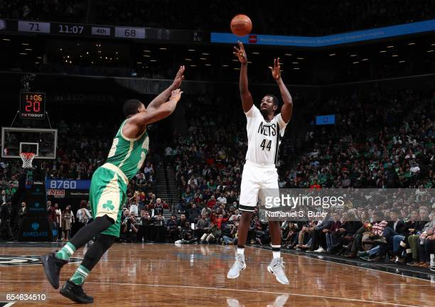 Andrew Nicholson of the Brooklyn Nets shoots the ball during a game against the Boston Celtics on March 17 2017 at Barclays Center in Brooklyn New...