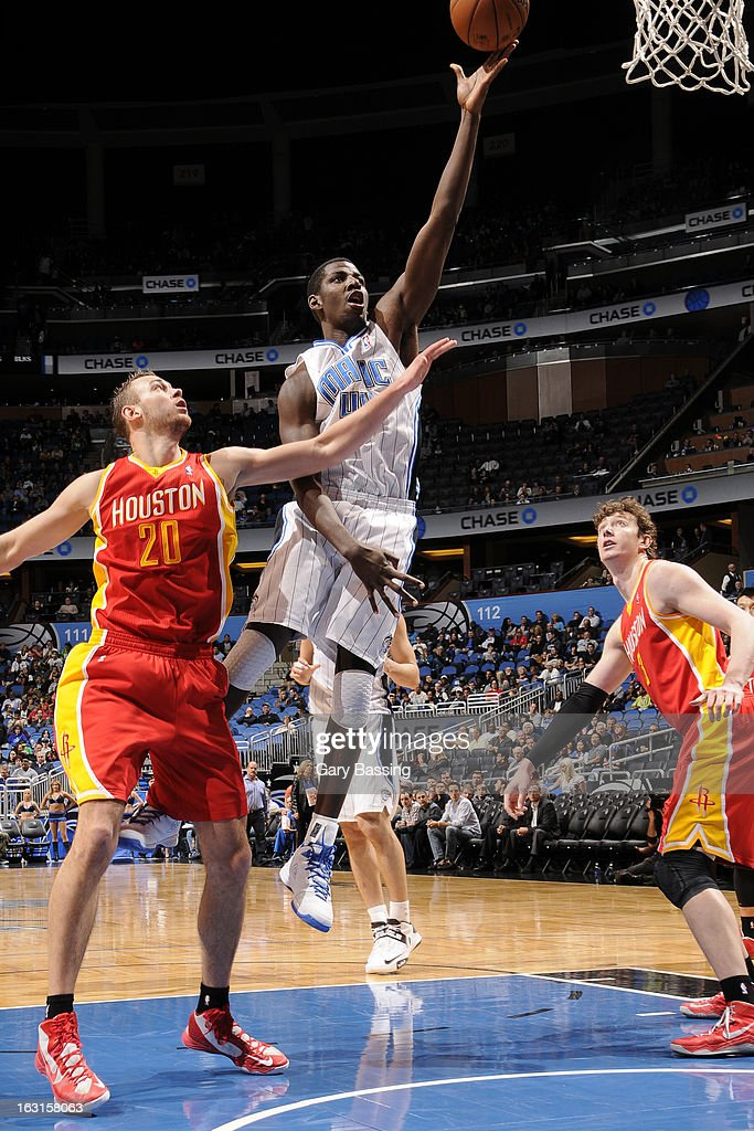 Andrew Nicholson #44 of the Orlando Magic drives to the basket against the Houston Rockets on March 1, 2013 at Amway Center in Orlando, Florida.
