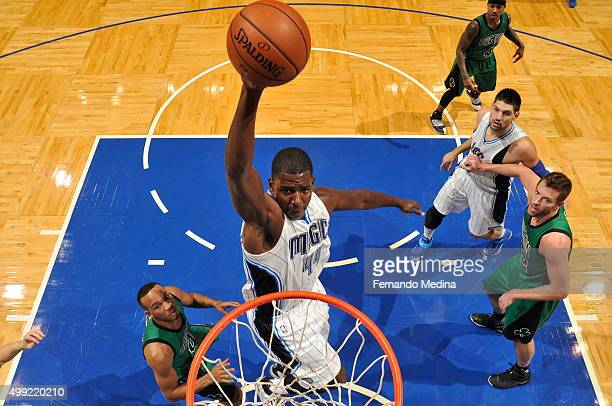 Andrew Nicholson of the Orlando Magic dunks against the Boston Celtics on November 29 2015 at the Amway Center in Orlando Florida NOTE TO USER User...