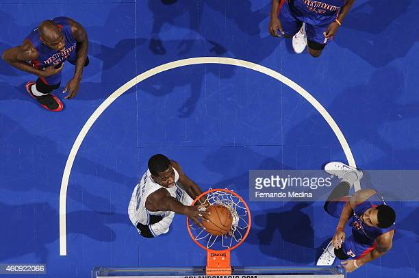 Andrew Nicholson of the Orlando Magic dunks against the Detroit Pistons on December 30 2014 at Amway Center in Orlando Florida NOTE TO USER User...