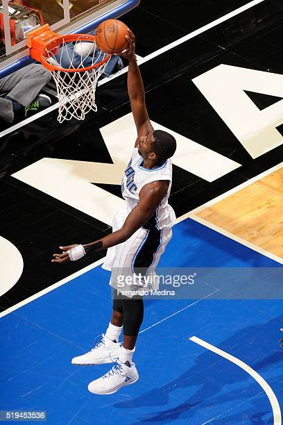 Andrew Nicholson of the Orlando Magic dunks against the Detroit Pistons on April 6 2016 at Amway Center in Orlando Florida NOTE TO USER User...