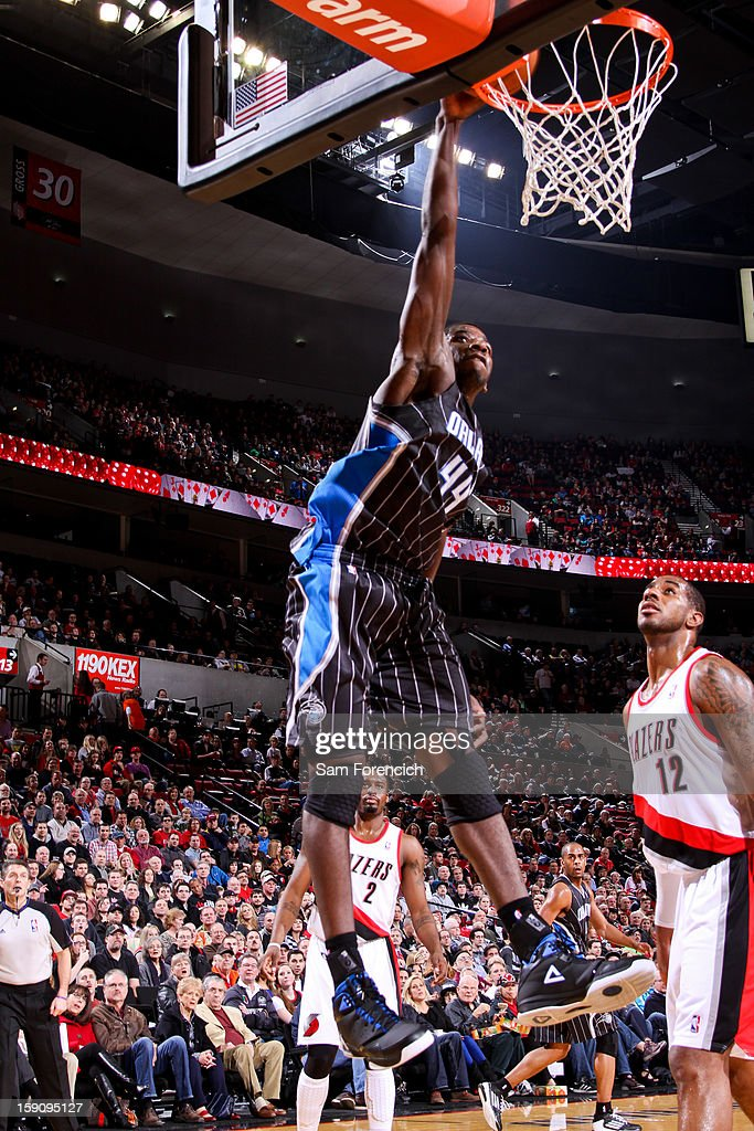 Andrew Nicholson #44 of the Orlando Magic dunks against the Portland Trail Blazers on January 7, 2013 at the Rose Garden Arena in Portland, Oregon.