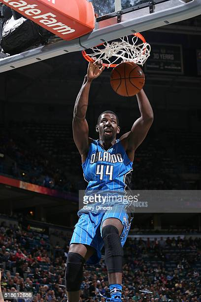 Andrew Nicholson of the Orlando Magic dunks the ball during the game against the Milwaukee Bucks on April 1 2016 at the BMO Harris Bradley Center in...