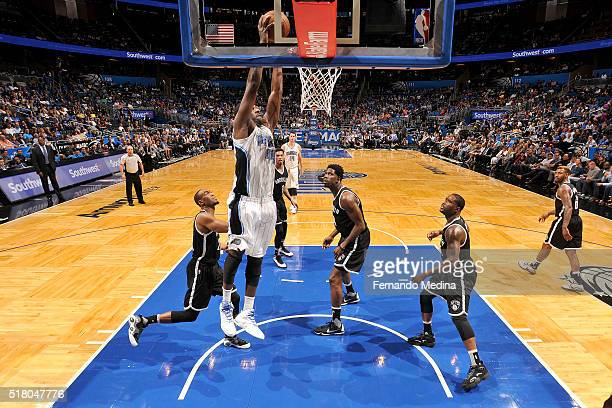Andrew Nicholson of the Orlando Magic goes for the dunk during the game against the Brooklyn Nets on March 29 2016 at Amway Center in Orlando Florida...