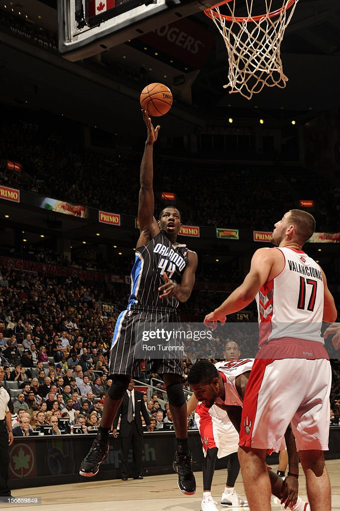 Andrew Nicholson #44 of the Orlando Magic goes for the shot vs the Toronto Raptors during the game on November 18, 2012 at the Air Canada Centre in Toronto, Ontario, Canada.