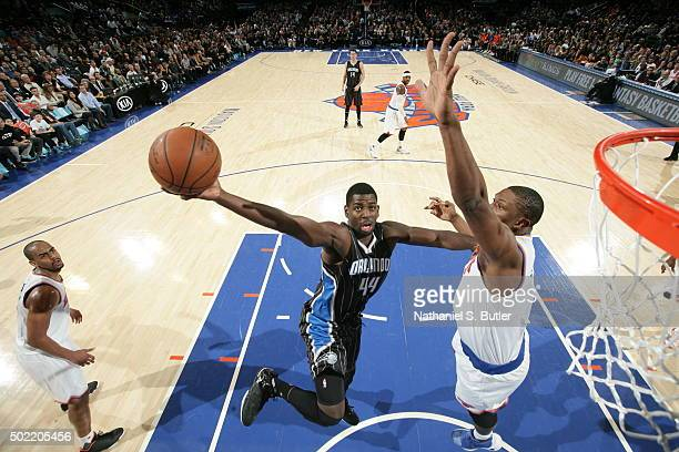 Andrew Nicholson of the Orlando Magic goes to the basket against the New York Knicks on December 21 2015 at Madison Square Garden in New York City...