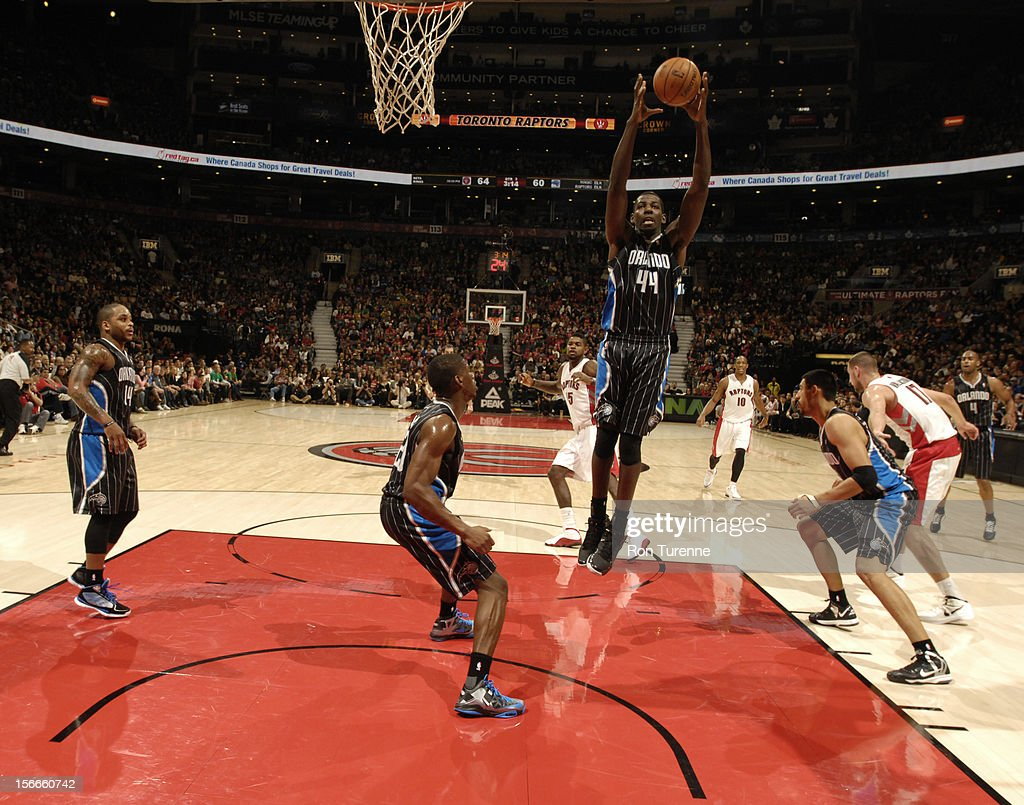 Andrew Nicholson #44 of the Orlando Magic grabs a rebound vs the Toronto Raptors during the game on November 18, 2012 at the Air Canada Centre in Toronto, Ontario, Canada.