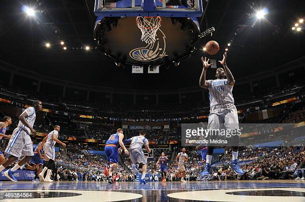 Andrew Nicholson of the Orlando Magic grabs the rebound against the New York Knicks on April 11 2015 at Amway Center in Orlando Florida NOTE TO USER...