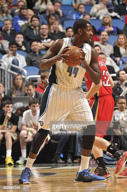 Andrew Nicholson of the Orlando Magic handles the ball against the New Orleans Pelicans on February 20 2015 at Amway Center in Orlando Florida NOTE...