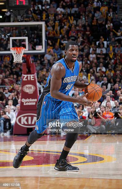 Andrew Nicholson of the Orlando Magic handles the ball against the Cleveland Cavaliers on November 23 2015 at Quicken Loans Arena in Cleveland Ohio...