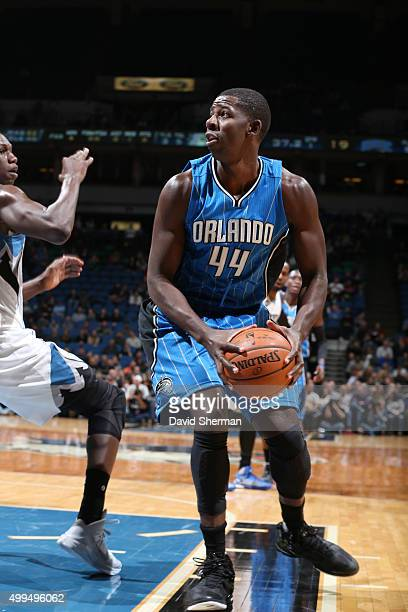 Andrew Nicholson of the Orlando Magic handles the ball against the Minnesota Timberwolves on December 1 2015 at Target Center in Minneapolis...