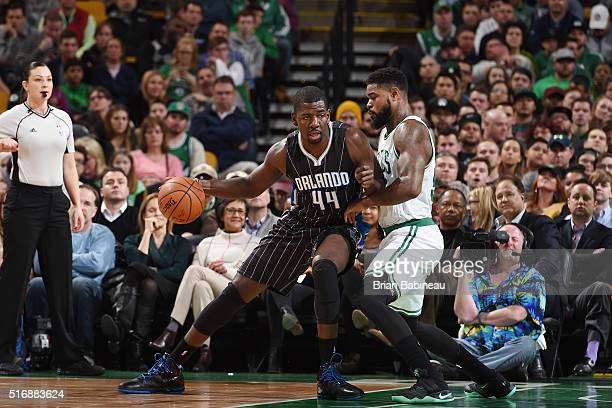 Andrew Nicholson of the Orlando Magic handles the ball against the Boston Celtics on March 21 2016 at the TD Garden in Boston Massachusetts NOTE TO...