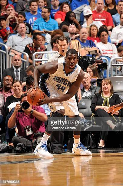Andrew Nicholson of the Orlando Magic handles the ball against the Chicago Bulls on March 26 2016 at Amway Center in Orlando Florida NOTE TO USER...