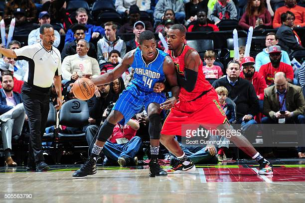 Andrew Nicholson of the Orlando Magic handles the ball during the game against the Atlanta Hawks on January 18 2016 at Philips Arena in Atlanta...