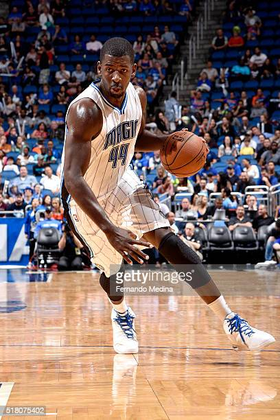 Andrew Nicholson of the Orlando Magic handles the ball during the game against the Brooklyn Nets on March 29 2016 at Amway Center in Orlando Florida...