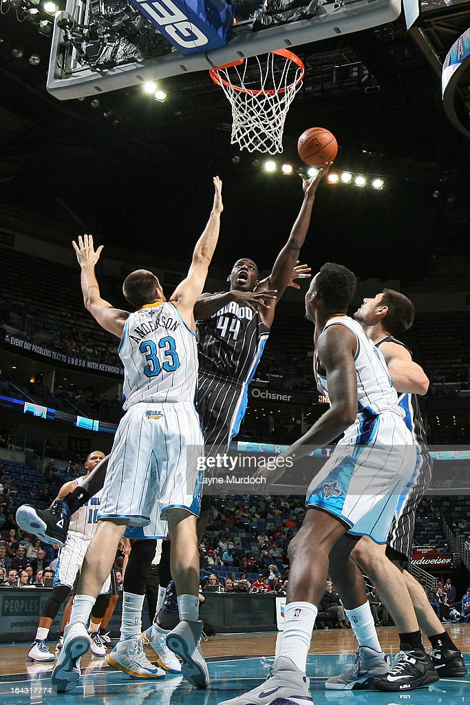 Andrew Nicholson #44 of the Orlando Magic puts up a shot against the New Orleans Hornets on March 4, 2013 at the New Orleans Arena in New Orleans, Louisiana.