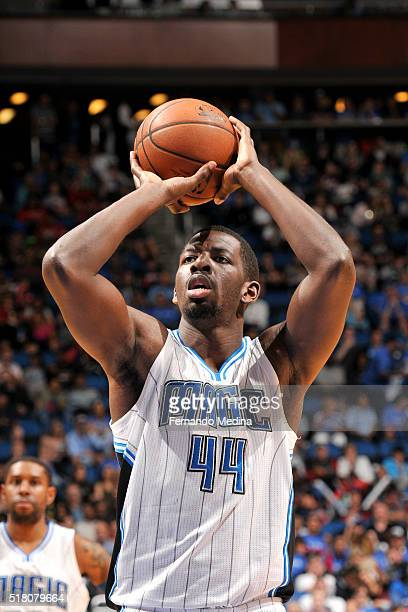 Andrew Nicholson of the Orlando Magic shoots a free throw during the game against the Brooklyn Nets on March 29 2016 at Amway Center in Orlando...