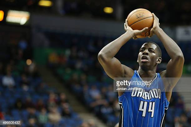 Andrew Nicholson of the Orlando Magic shoots against the Minnesota Timberwolves during the game on December 1 2015 at Target Center Minneapolis...