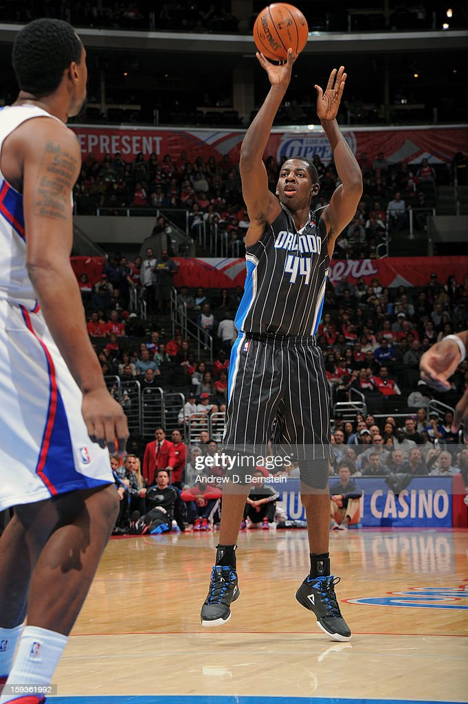 Andrew Nicholson #44 of the Orlando Magic shoots the ball against the Los Angeles Clippers at Staples Center on January 12, 2013 in Los Angeles, California.