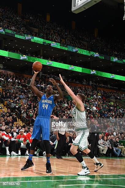 Andrew Nicholson of the Orlando Magic shoots the ball against the Boston Celtics on January 29 2016 at the TD Garden in Boston Massachusetts NOTE TO...