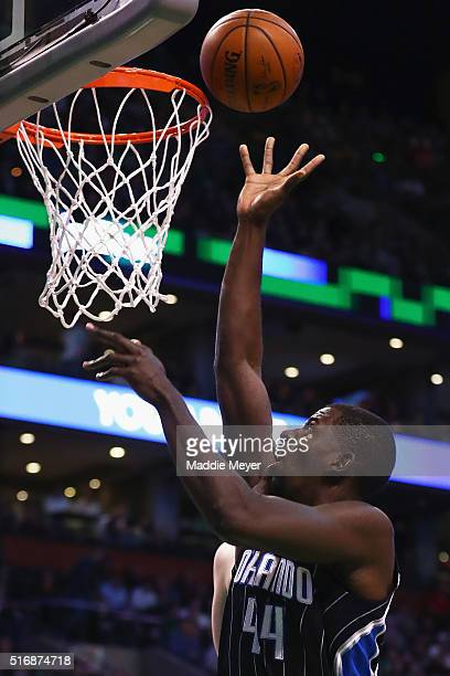 Andrew Nicholson of the Orlando Magic takes a shot against the Boston Celtics during the second quarter at TD Garden on March 21 2016 in Boston...
