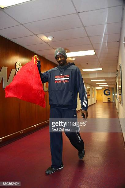 WASHINGTON DC DECEMBER 18 Andrew Nicholson of the Washington Wizards arrives before the game against the Los Angeles Clippers on December 18 2016 at...