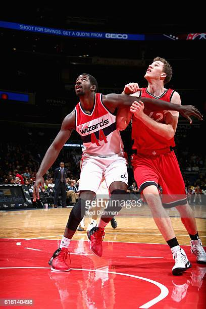 Andrew Nicholson of the Washington Wizards boxes out against the Toronto Raptors during a preseason game on October 21 2016 at Verizon Center in...