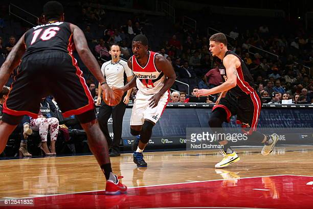 Andrew Nicholson of the Washington Wizards drives to the basket against the Miami Heat during a preseason game on October 4 2016 at Verizon Center in...