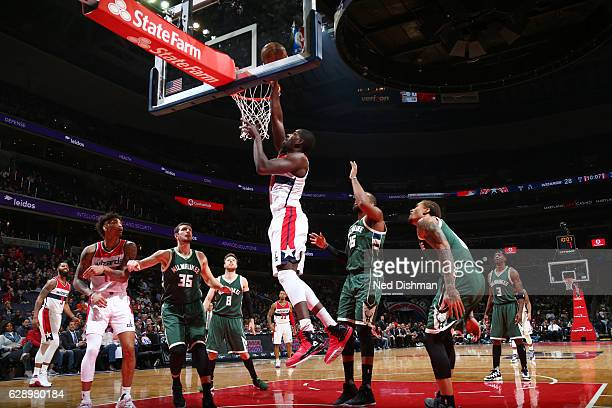 Andrew Nicholson of the Washington Wizards dunks against the Milwaukee Bucks during the game on December 10 2016 at Verizon Center in Washington DC...