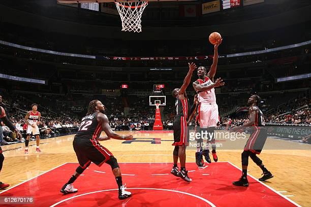 Andrew Nicholson of the Washington Wizards goes to the basket against the Miami Heat during a preseason game on October 4 2016 at Verizon Center in...