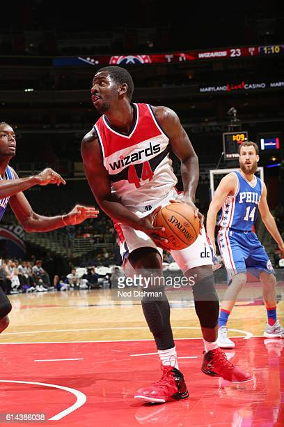 Andrew Nicholson of the Washington Wizards handles the ball against the Philadelphia 76ers during a preseason game on October 13 2016 at Verizon...