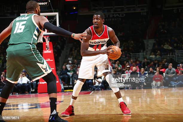 Andrew Nicholson of the Washington Wizards handles the ball against the Milwaukee Bucks during the game on December 10 2016 at Verizon Center in...