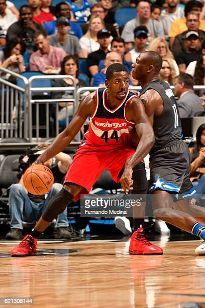 Andrew Nicholson of the Washington Wizards handles the ball during a game against the Orlando Magic on November 5 2016 at the Amway Center in Orlando...