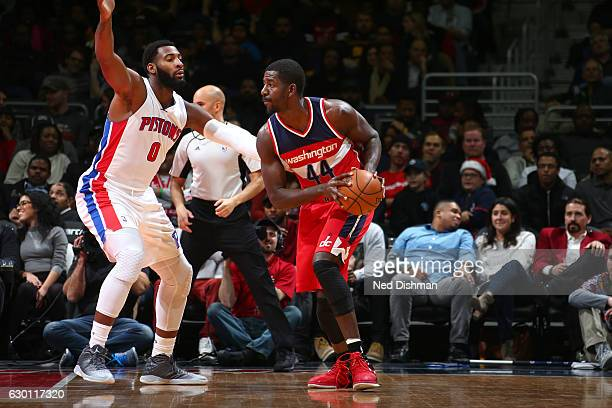 Andrew Nicholson of the Washington Wizards looks to pass against the Detroit Pistons on December 16 2016 at Verizon Center in Washington DC NOTE TO...
