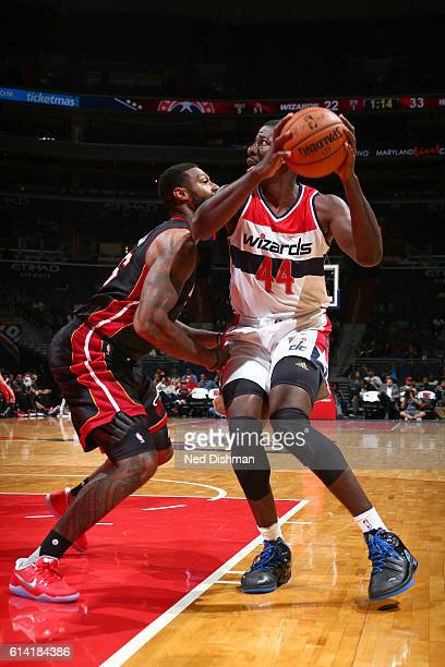Andrew Nicholson of the Washington Wizards looks to shoot the ball during a preseason game against the Miami Heat on October 4 2016 at Verizon Center...