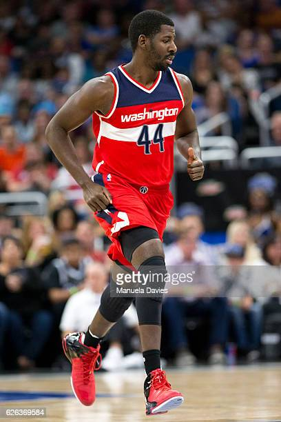 Andrew Nicholson of the Washington Wizards runs the court during the game against the Orlando Magic at Amway Center on November 25 2016 in Orlando...