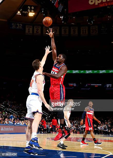 Andrew Nicholson of the Washington Wizards shoots the ball against the New York Knicks during a preseason game on October 10 2016 at Madison Square...