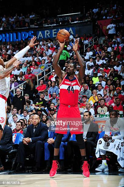 Andrew Nicholson of the Washington Wizards shoots the ball against the Atlanta Hawks on October 27 2016 at Philips Arena in Atlanta Georgia NOTE TO...