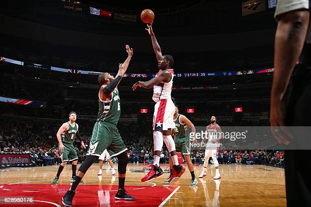Andrew Nicholson of the Washington Wizards shoots the ball against the Milwaukee Bucks during the game on December 10 2016 at Verizon Center in...