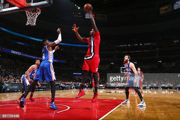 Andrew Nicholson of the Washington Wizards shoots the ball against the Philadelphia 76ers on January 14 2017 at Verizon Center in Washington DC NOTE...