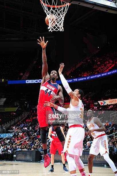 Andrew Nicholson of the Washington Wizards shoots the ball against the Atlanta Hawks on January 27 2017 at Philips Arena in Atlanta Georgia NOTE TO...