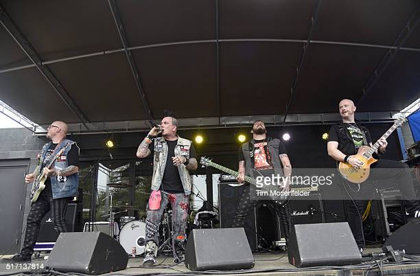 """Andrew """"Nix"""" Nixon Jay Cee Dustin Green Steve Boyles of American Bombshell perform at the Spin at Stubb's SXSW Showcase at Stubb's Bar-B-Que on March..."""