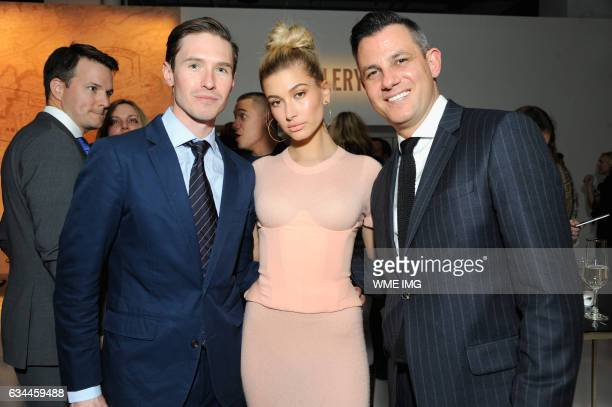 Andrew Nodell Hailey Baldwin and Martin Drew attend Etihad Airways Toasts New York Fashion Week 2017 at Skylight Clarkson Sq on February 9 2017 in...