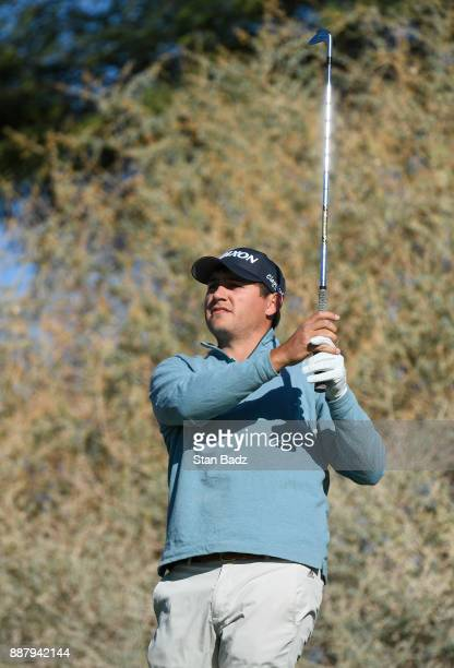 Andrew Novak plays a tee shot on the seventh hole during the first round of the Webcom Tour Qualifying Tournament at Whirlwind Golf Club on the...